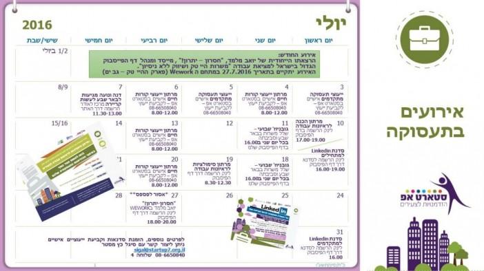 לוח אירועי תעסוקה יולי 2016 מעודכן